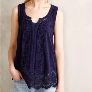Anthropologie Meadow Rue Embroidered Lace Top
